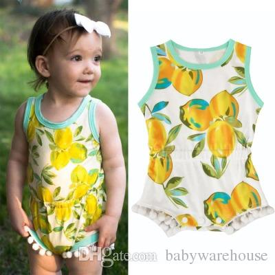 7c4fe739f8ff 2019 Newborn Baby Rompers Summer Sleeveless Lemon Printed Jumpsuits Infant  Baby One Pieces Romper High Quality Tassel Kids Girls Jumpsuit Clothes From  ...