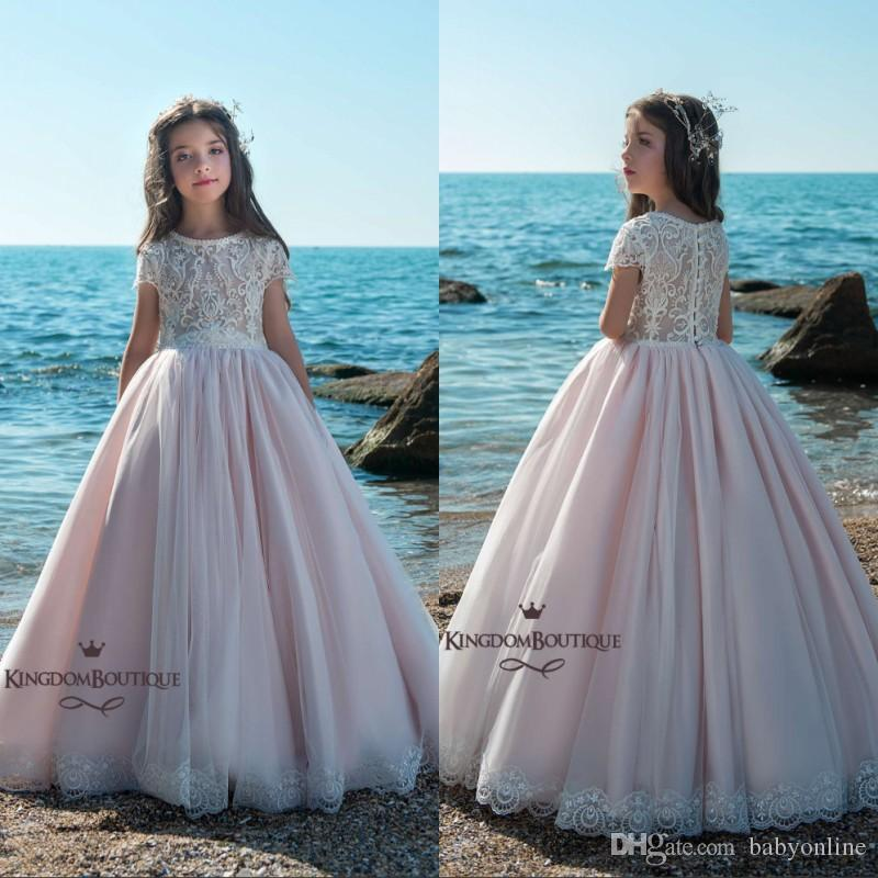 Flower Girl Dresses For Garden Weddings: Cute Blush Pink Flower Girl Dresses For Summer Beach