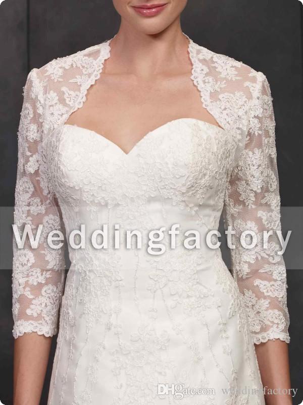 Vintage Bolero Bridal Wraps and Jackets Lace Appliques Three Quarter Illusion Sleeves Wedding Mini Coat Custom Made