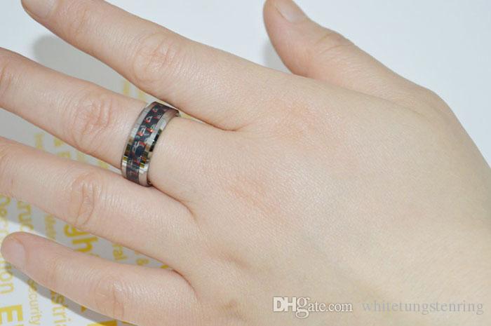 Biżuteria Moda Tungsten Pierścienie Dwa Tonowe zespoły Ślubne Włókno węglowe dla mężczyzn Pierścionki zaręczynowe