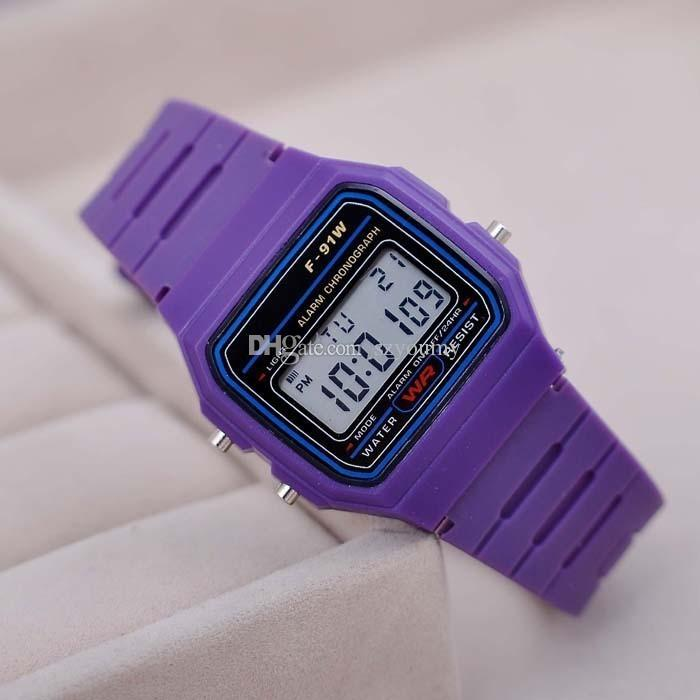 Fashion Men ultrathin Led Watch alarm clock Men/women F-91W watches Cheap F91W fashion thin LED Silicone watches