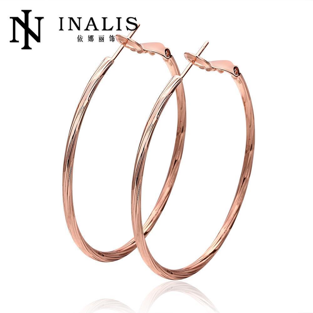 2018 18k Real Gold 4 8 4 6cm Hoop Earrings Factory Wholesale Choice