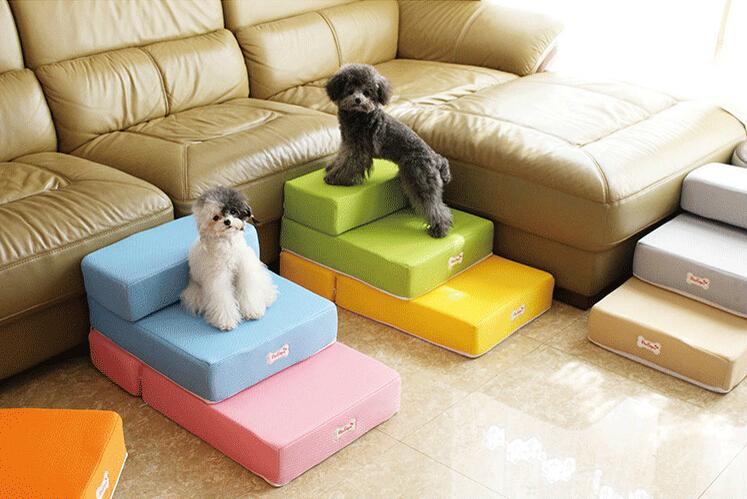 15PT01 Красочная Мебель Для Домашних Животных Лестница Для Собак Щенок Противоскользящая Лестница для Домашних Животных Сложенная Лестница 2-ступенчатая Лестница для Собак