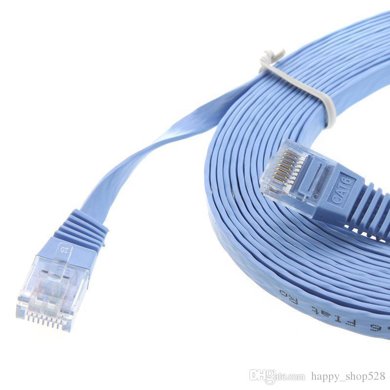 Network cable RJ45 Cat6 Flat Ethernet Patch Network Lan Cable 15m Cat6 Snagless Ethernet Patch Cable in Blue 5 Feet