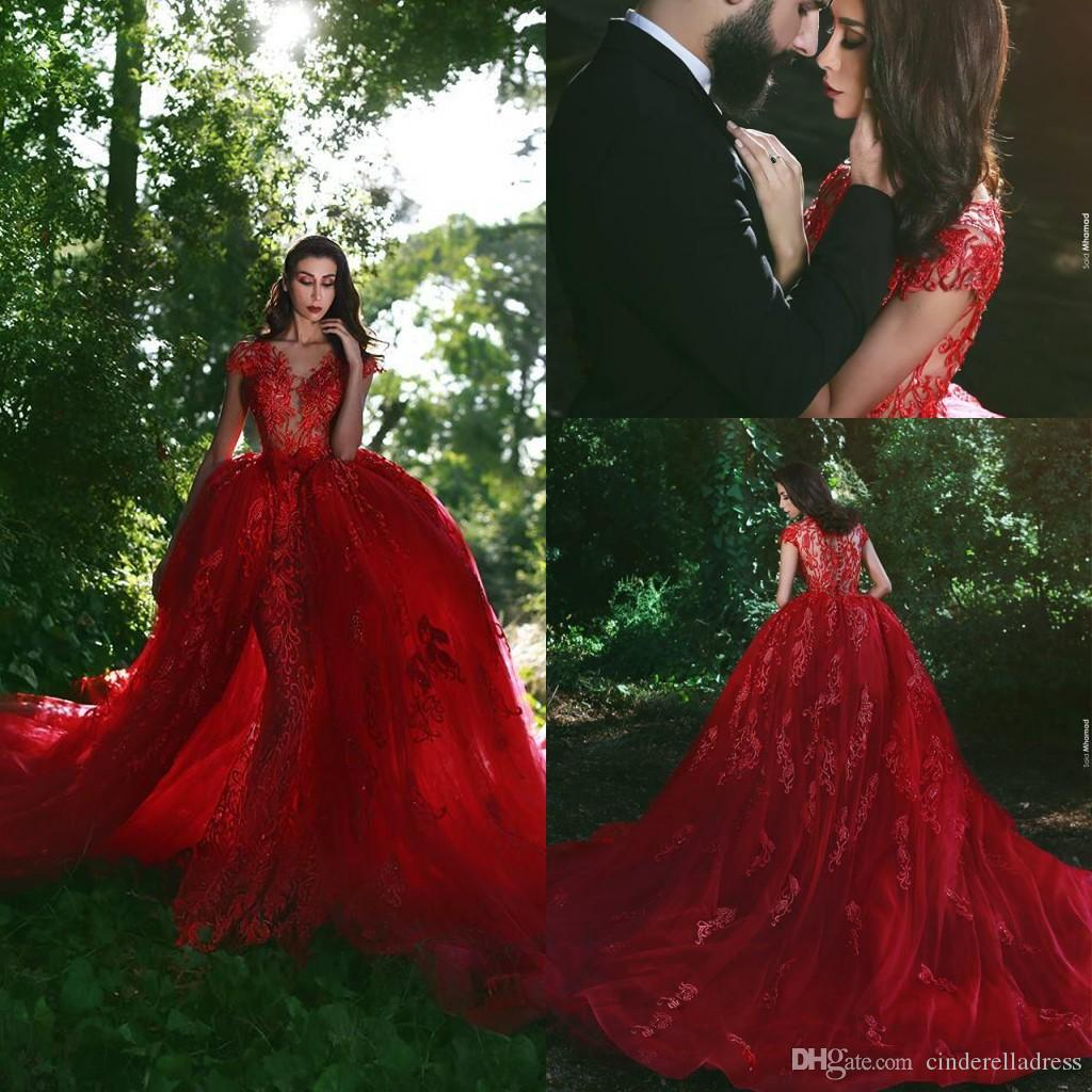 2018 Fairy Red Evening Dresses V Neck Short Sleeves Overskirts Train Sheer  Applique See Through Party Mermaid Prom Gowns Second Hand Evening Dresses  Sexy . ba392d068c95