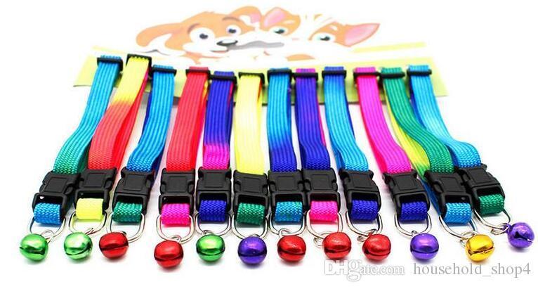 Collari gatti cani Collane campane Cani animali domestici Cinghia trazioni arcobaleno Cani Collana gatti Collari portatili durevoli animali domestici Collare cinture