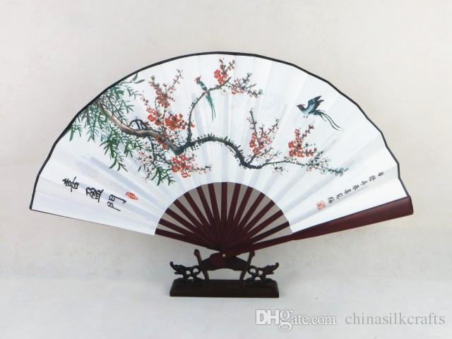 Vintage Folding Hand Fan Traditional Craft Decorative Chinese Fan Painting Big Bamboo Silk Fan for Men