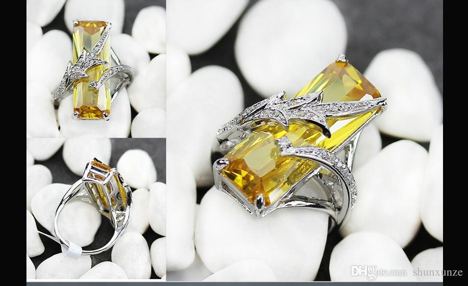 SHUNXUNZE tiempo limitado grandes anillos de boda de moda de descuento para hombres y accesorios de vestir de la mujer amarilla circonio cúbico plateado rodio R560