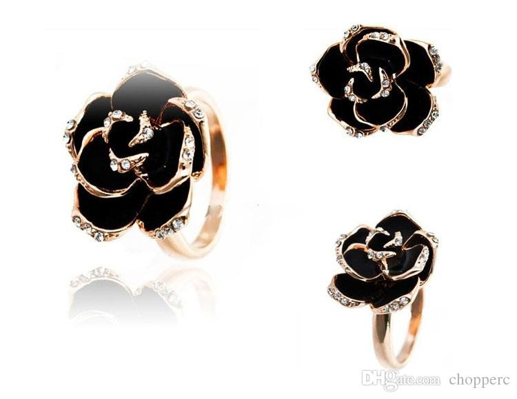Fashion Black Rose Rings Bling Rhinestone Jewelry Flower Metal Gold  Silverplated Artificial Diamond Double Pearl Finger Ring For Girls Women  Canada 2019 ... 9c6357708a67