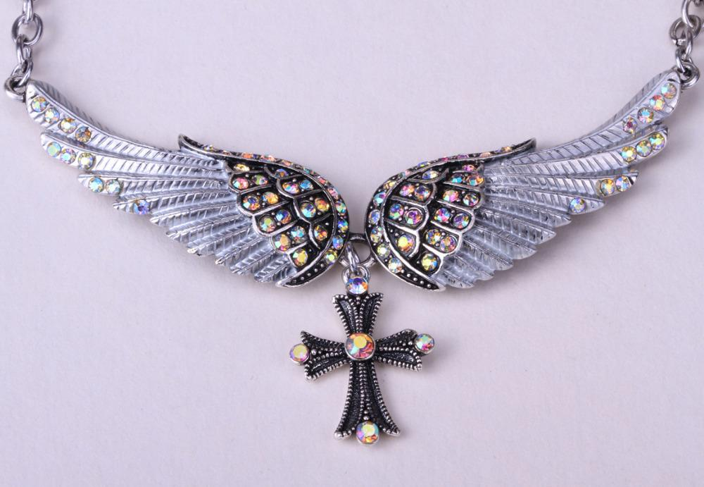 Wholesale angel wing cross necklace women biker jewelry w crystal wholesale angel wing cross necklace women biker jewelry w crystal adjustable antique silver plated nc01 charms for bracelets mom pendant necklace from aloadofball Image collections