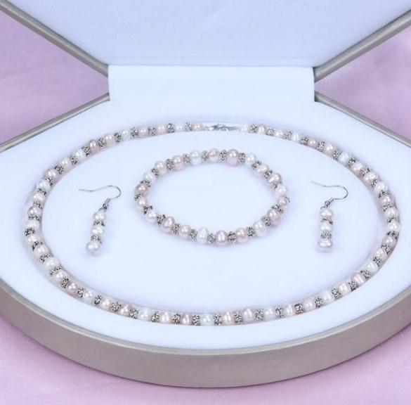 6-7mm White Natural Pearl Necklace 18inch Bracelet 7.5inch Set 925 Silver