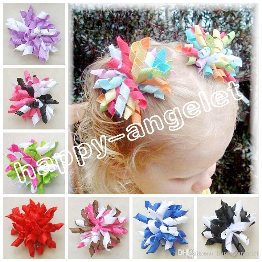 Baby Girl 2.5 Cute Korker Hair Bows Clips M2M Gymboree Style Curly Corker  Hair Accessories Hair Ties Candy Color Hair Bobbles PD007 Beautiful Hair ... 85e61923f47