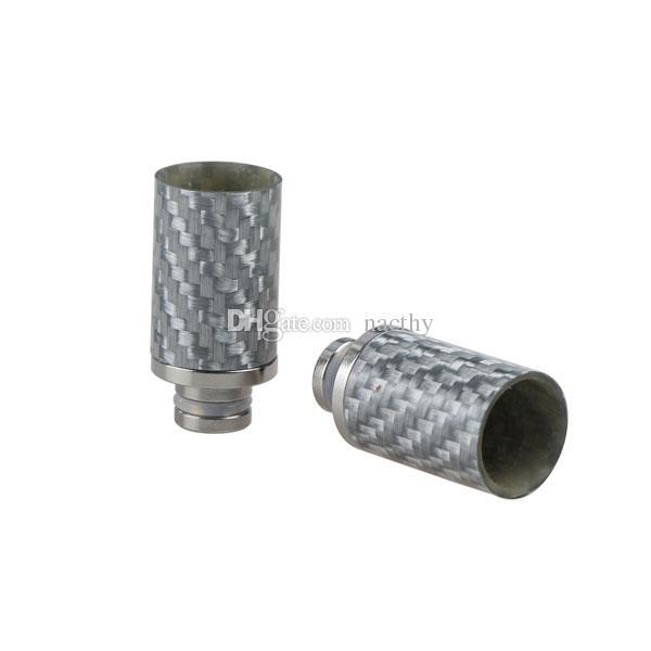 Kohlefaser 510 Drip Tips Schwarz Silber breite Bohrung Drip Tipps EGO Zerstäuber Mundstücke für mechanische Mod RBA RDA E Cig Tank Verdampfer