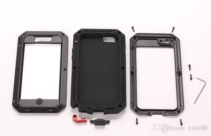 De lujo a prueba de golpes a prueba de agua de gran alcance de protección de aluminio cubierta de metal de cristal gorila cajas del teléfono celular para iphone x 4 5 6 6 s 7 8 plus