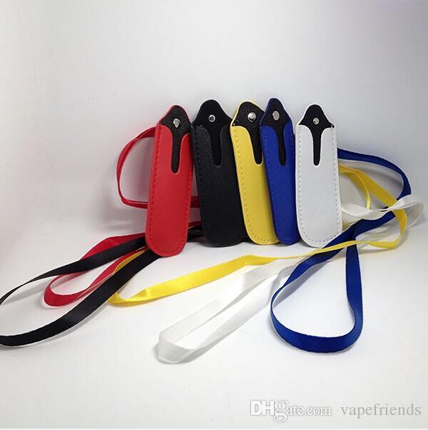 Cordão de colar de cordão de ego de alta qualidade com couro de PU que carrega bolso de bolso corda de estilingue de pescoço corda redonda caso de esquina ensaca para bateria de ecig