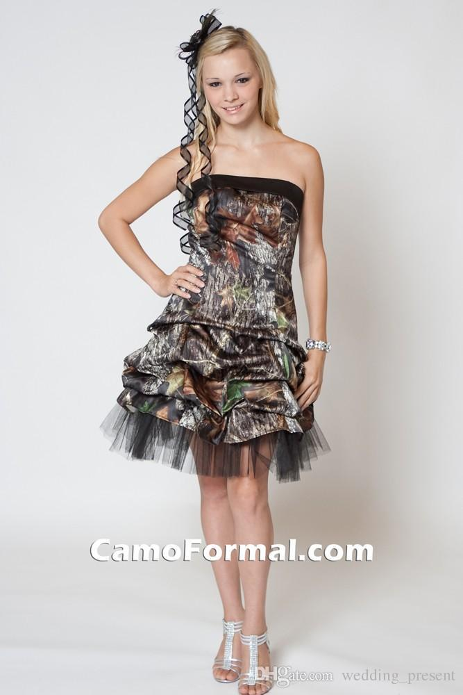 Camo Black Gothic Wedding Dresses 2015 Strapless Knee Length Realtree Short Bridal Gowns with See Through Tulle New Arriva Camo Dresses