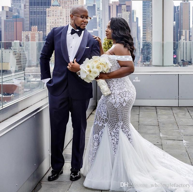 Taille plus élégante dentelle africaine sirène robes de mariée 2020 de l'épaule Tulle Cour Appliqued train Robes de mariée Robe de soriee