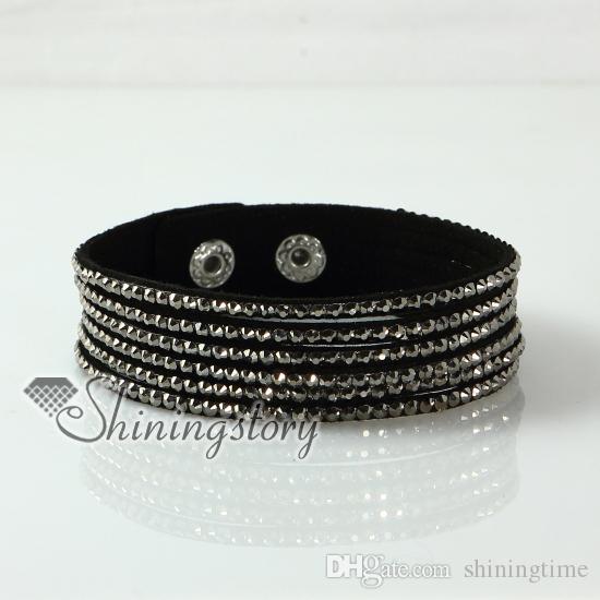 Pulseras de cuero de diamantes de imitación de diamantes de imitación de múltiples capas Pulseras hechas a mano Pulseras hechas a mano Pulsera de cuero de moda joyas