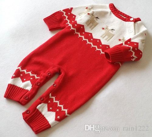 2017 Christmas Jumpsuits Clothes Knitted Sweater Baby Newborn Deer Knit One-piece Rompers Infants Toddlers Cotton Onesies Clothes Jumpsuits