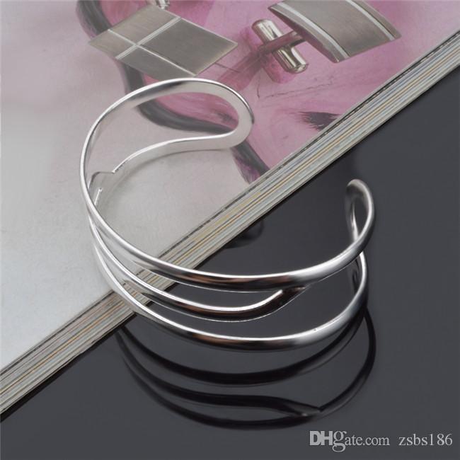 تصميم الأزياء 925 الفضة الاسترليني مطلي ثلاثة أساور سلك أعلى جودة الشحن المجاني