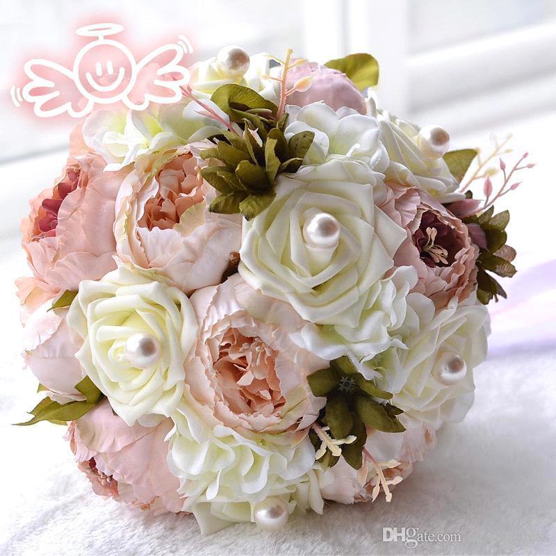 2017 Pink Peony Artificial Bridal Flower Wedding Bouquet Flowers ...