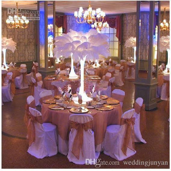 2015 recién llegado Natural Plumas de avestruz plumas blanco centro de mesa para el banquete de boda decoración de la mesa envío gratis