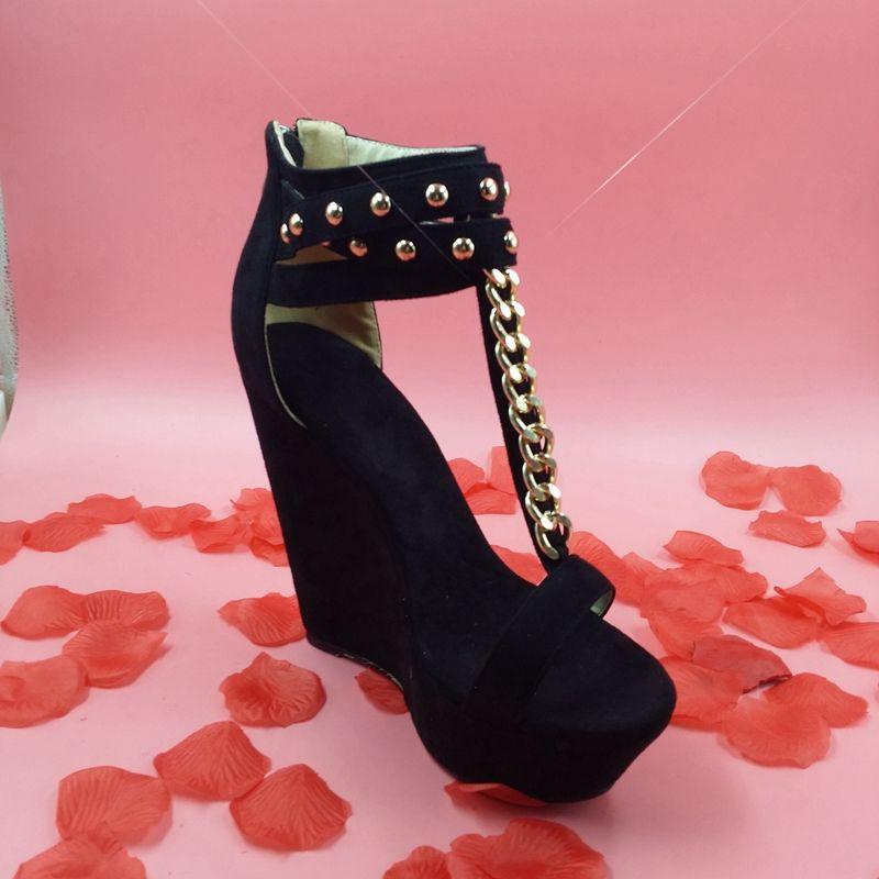 62cc0376fd13e Black Thick Platform Sandals Ankle Strap T Strap Open Toe Women 2015 Summer  Style Shoes Wedge 15cm High Heel Women Real Image Wedge Sandal Girls Sandals  ...