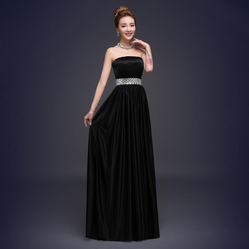 Long Satin Evening Dress 2018 Fashion Strapless Crystal Evening Gowns Black Women Dress to Party Elegant