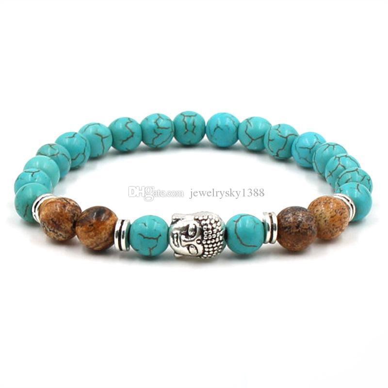 Голова Будды подвески тигровый глаз камень бусины браслет природных 8 мм бирюзовые камни эластичный браслет женщины ювелирные изделия бесплатная доставка
