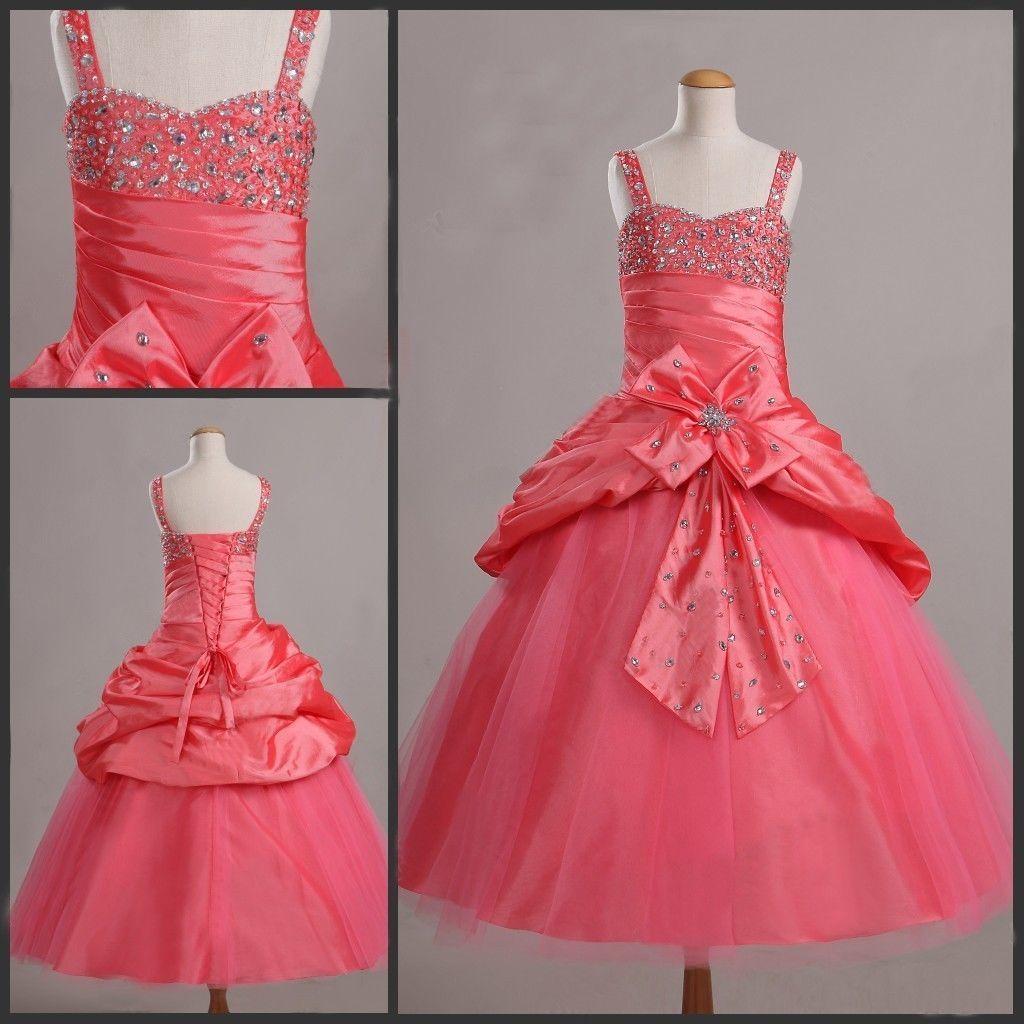 Sweet Green Taffeta Straps Beads Wedding Flower Girl Dresses Girls' Pageant Dresses Dressy Skirt Custom Size 2 4 6 8 10 12 DF621001
