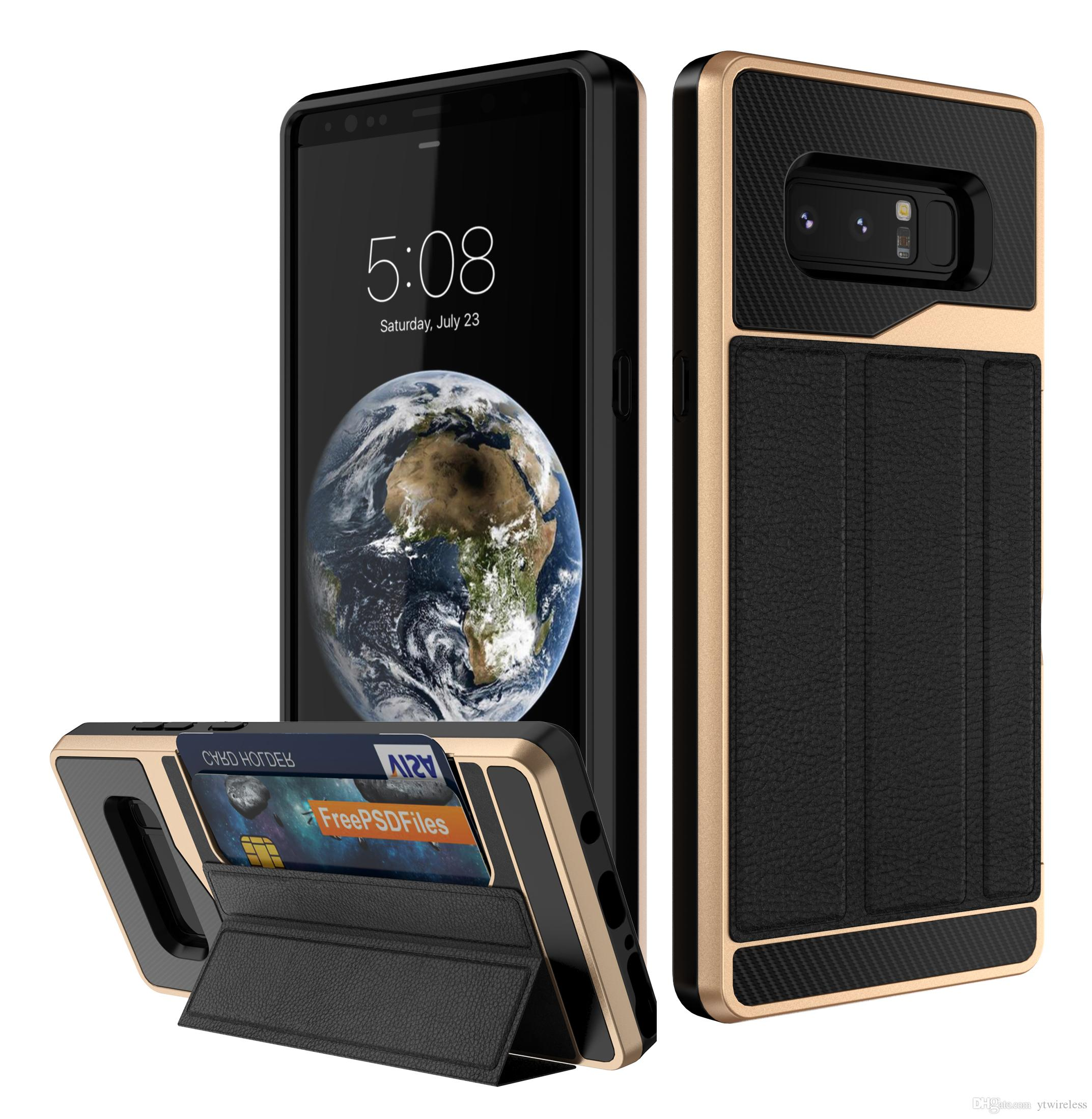 For iPhone X 6 7 8 Plus XR Xs Max Samsung Note8 ZTE Z982 Luxury Leather Bracket Card Holder kickstand Cell Phone Case