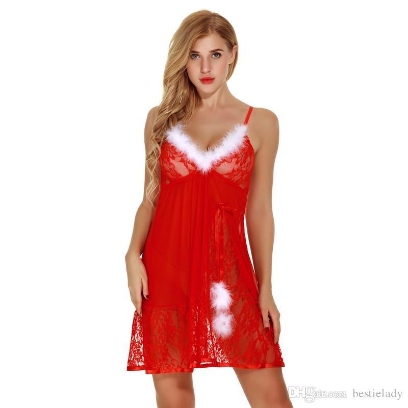 Feriado de natal Branco Fuzzy Fur Trim Babydoll Vermelho com Conjunto de Calcinha Mulheres Sexy Santa Íntima Lingerie Sheer Lacy Sleepwear Vestido