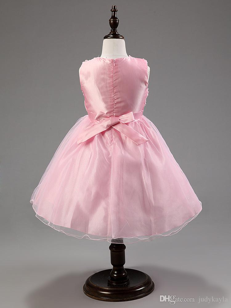 Grote meisjes baljurk zoete stijl stereoscopische rose applique kids feestjurken grote strik jeugd prinses jurk zes kleuren AB2093 xqz