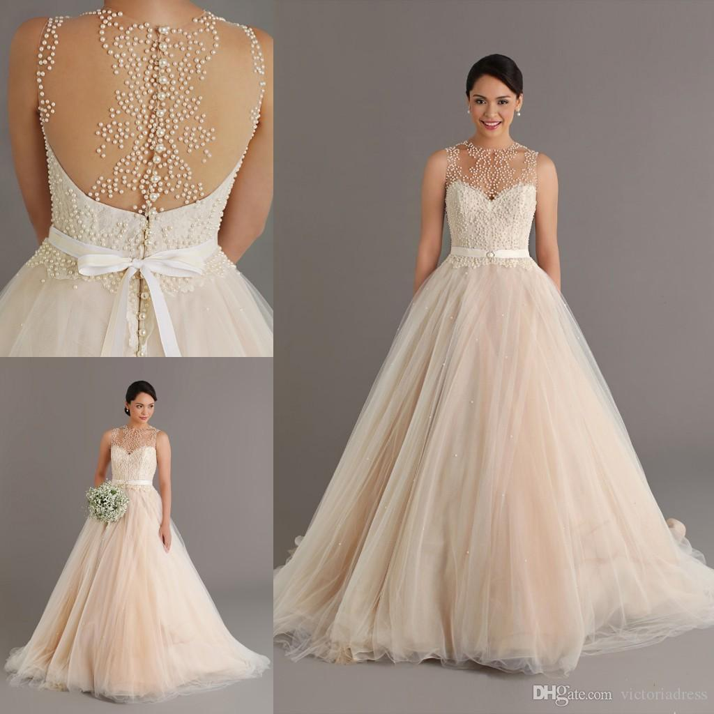 Dreaming 2015 Champagne Wedding Dresses With Pearls Sheer Neck Ball ...