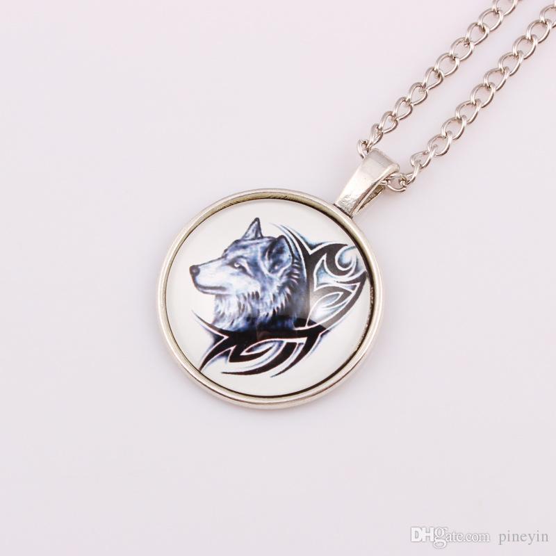 Uma canção de gelo e poder de fogo jogo stark wolf badge colar colar de pedras preciosas tempo Langtou Foto Cabochão De Vidro colar