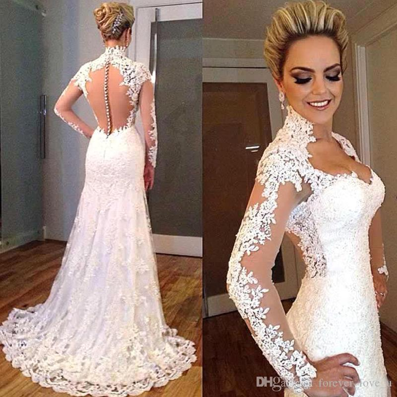 5fba591164c Illusion Arabic Wedding Dresses A Line Sweetheart High Neck Vintage Lace  Appliques Sheer Long Sleeves See Through Back Bridal Gowns Illusion Wedding  Dresses ...