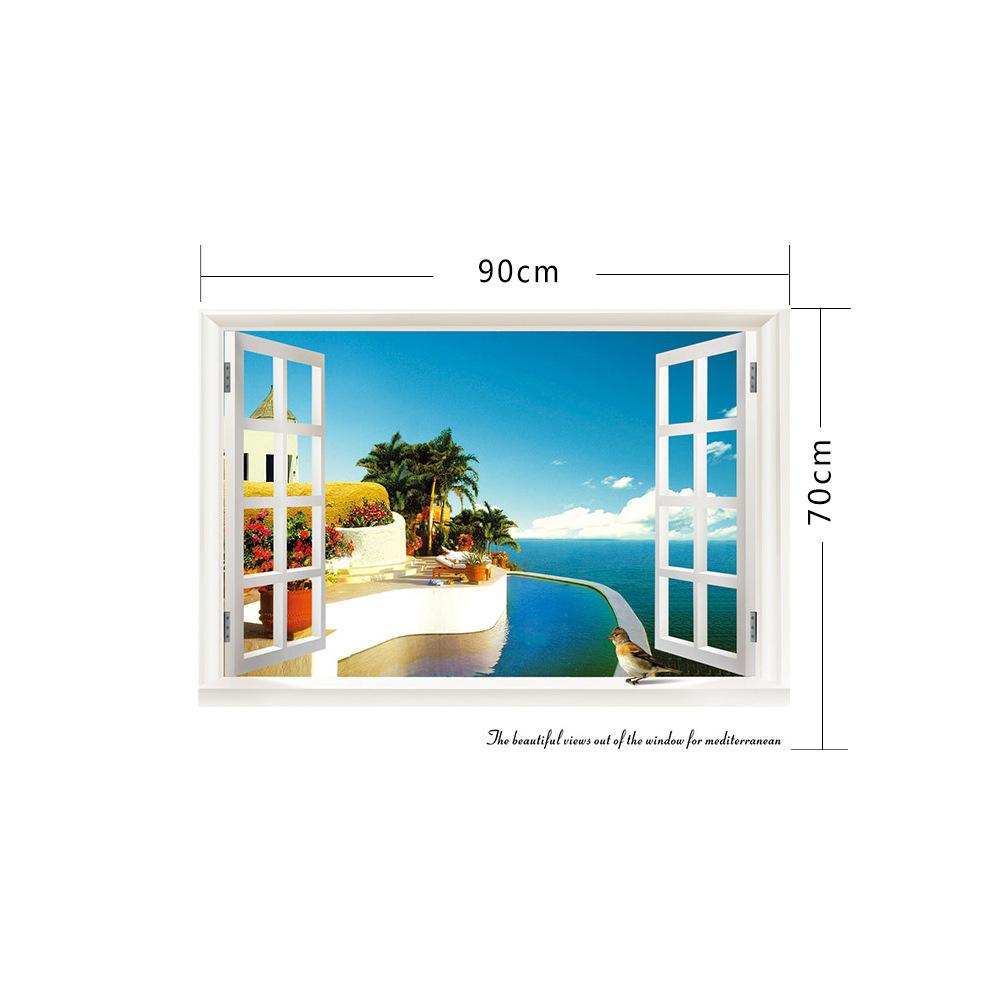 Removable 3D Wall Stickers Beach Sea Window View Decor Sea Picture Scenery Home Decor Decal Creative 3D Wallpaper Decor Wall Art Murals