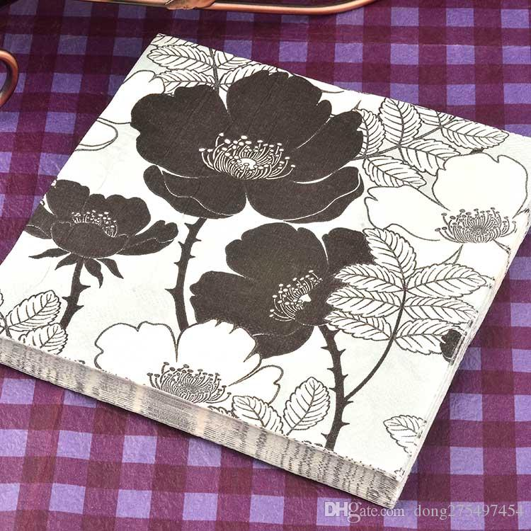 2018 40 napkins table paper napkins tissue flower bird black and white vintage printed decoupage home bar hotel wedding party festive decorative from