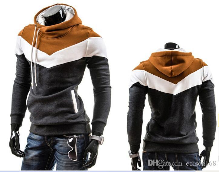Heißer verkauf neue männer farbe mit hut fleece mode lässig langarm hoodie manteljacke mantel kleidung für männer m-3xl