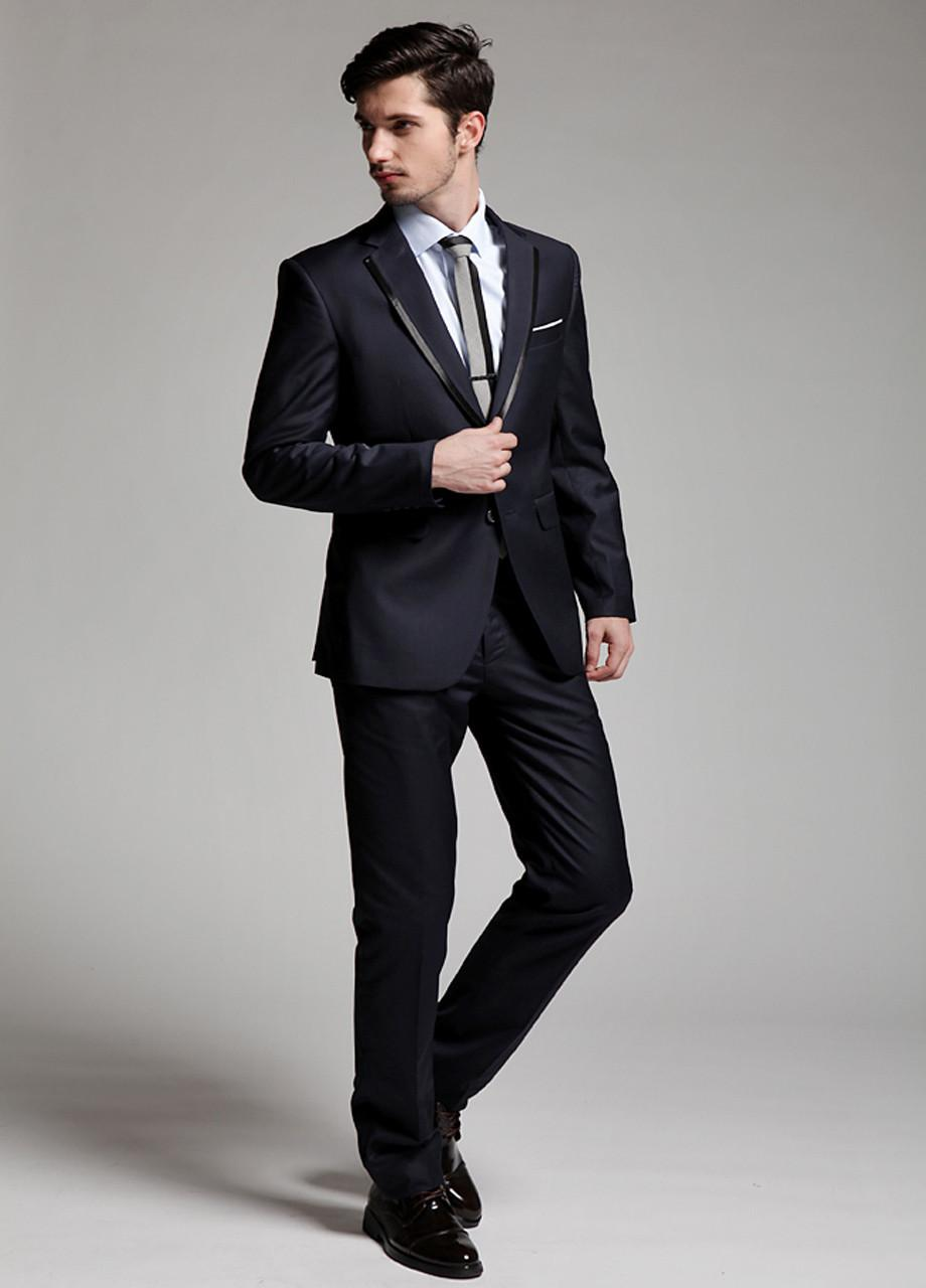 New Design Notch Lapel Side Slit Groom Tuxedos Slim Fit Business ...