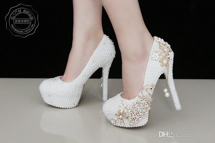 2015 Plus Size Elegant Heels Pearl Rhineston10cm 40 41 42 Crystal Bridal Wedding Shoes For Women Platform Diamante