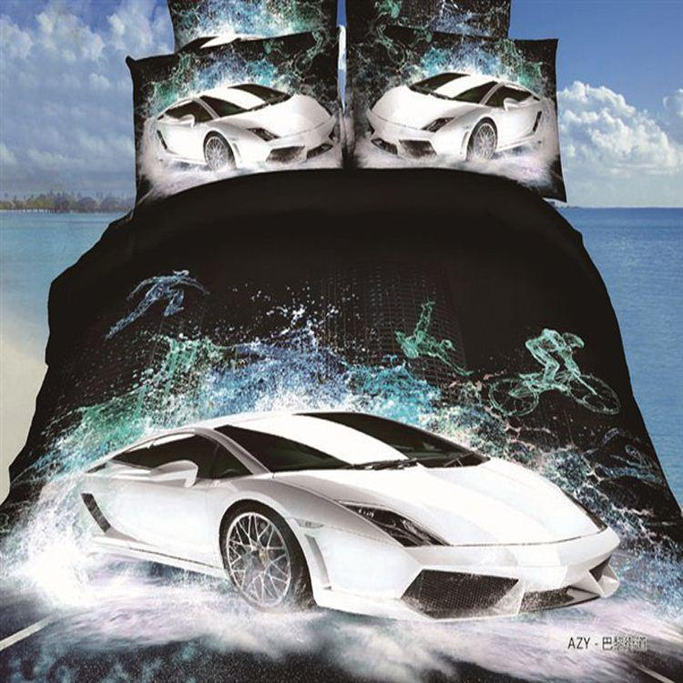 3d White Sports Cars Bedding Set Cotton Bed Duvet Quilt
