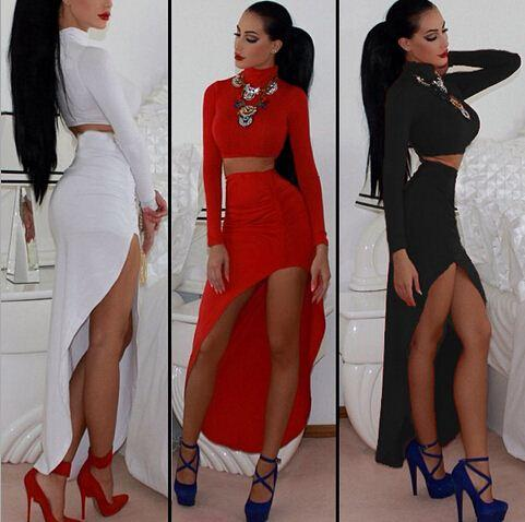 New 2015 Women Long Sleeve Two Piece Outfits Sexy Dress Set Women Bandage  Bodycon Club Party Dress Black White Red H218 White Cocktail Party Dress  Cocktail ... 9c0b233f0