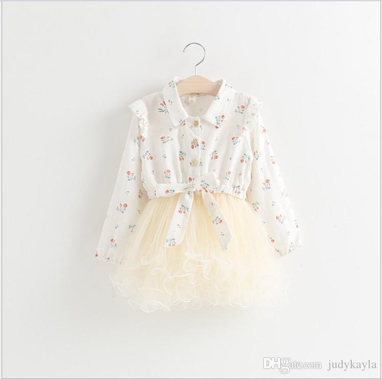 2018 våren nya tjejer långärmad klänning barn blommig tryckta sömmar klänningar baby flicka spets tulle tutu kjol barn kläder 2-7t