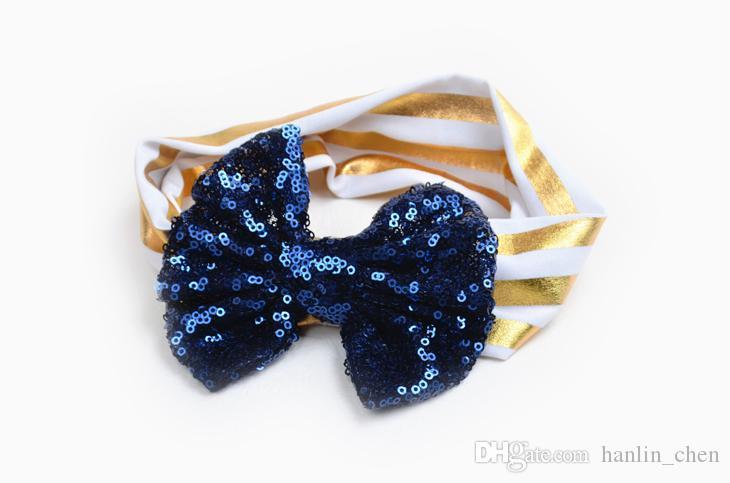 2018 Top Mode Zl Dentelle Nouveaux Enfants Paillettes De Cheveux Élastique Accessoires Mignon Bébé Big Bow Ornaments Lumière Bande Stripe 12 Couleurs Zl338