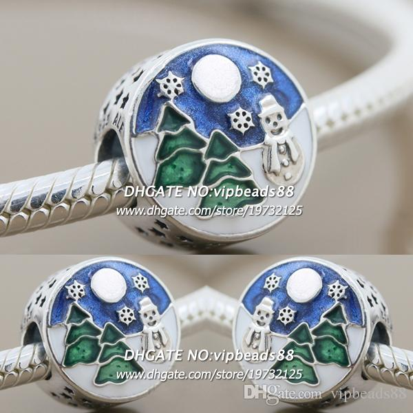 New 2017 Winter S925 Sterling Silver Blue Enamel Christmas Snowman CZ Charm beads For Pandora charm Bracelets Beads & Jewelry Making