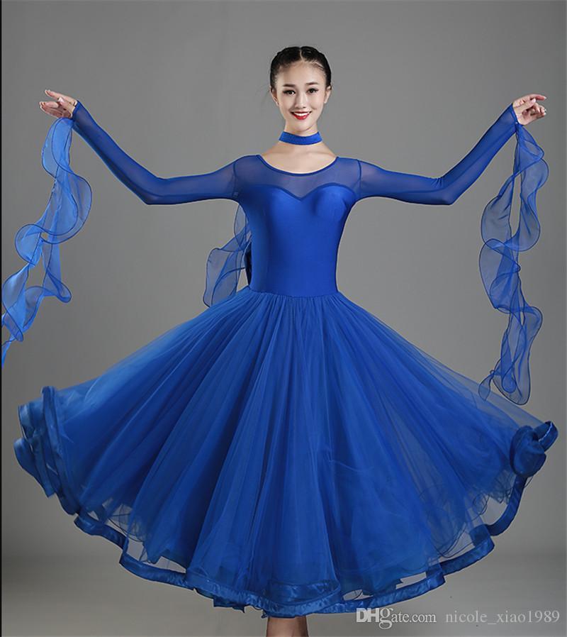 Новый взрослый бальный танец Dress современный Вальс стандартный конкурс танец Dress Sexy шею длинным рукавом Dress S-2XL 004