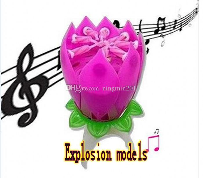2019 Lotus Flower Music Candle Beautiful Blossom Birthday Party Cake Sparkle Topper Rotating From Ningmin2013