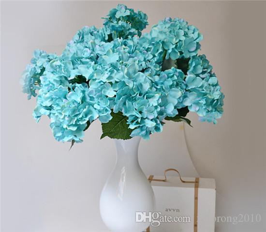 Silk Hydrangea (7 cabezas / pieza) 50cm / 19.68 pulgadas Artificial Teal Blue color Continental Large Hydrangea para Home Showcase Party Decor