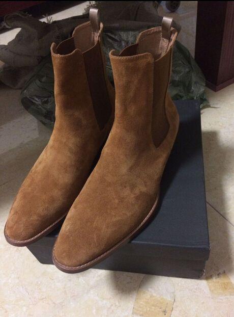 Man Slp Classic Hedi 40 Chelsea Boots In Tan Suede Elastic
